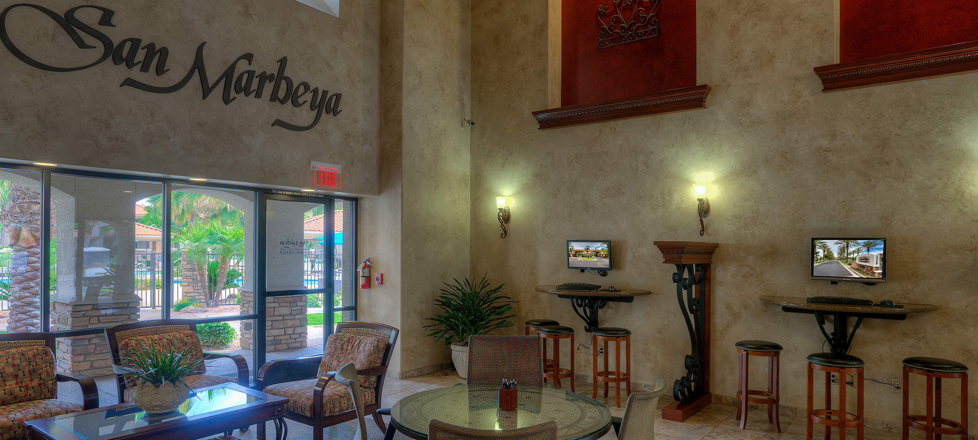 Lobby interior at San Marbeya in Tempe, Arizona