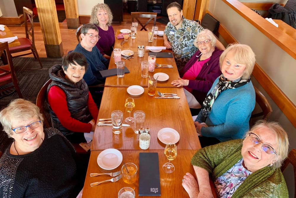 Merrill Gardens at First Hill residents enjoying lunch together at a local Seattle restaurant
