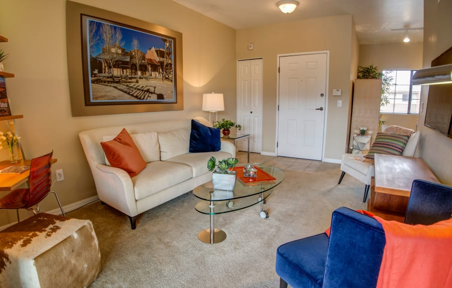 Model living room at Oro Vista Apartments in Oro Valley, Arizona