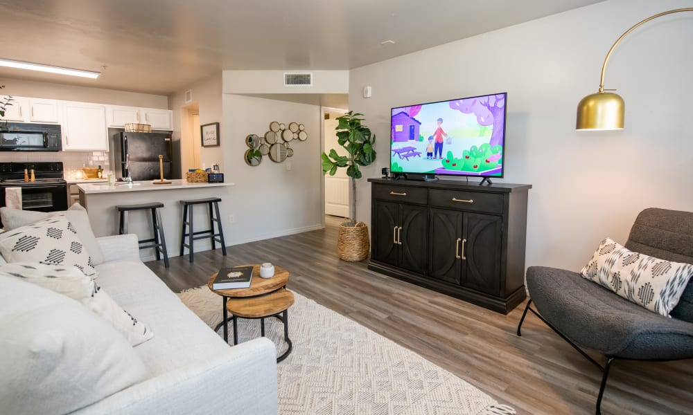 Model living room at Cross Timber in Oklahoma City, Oklahoma