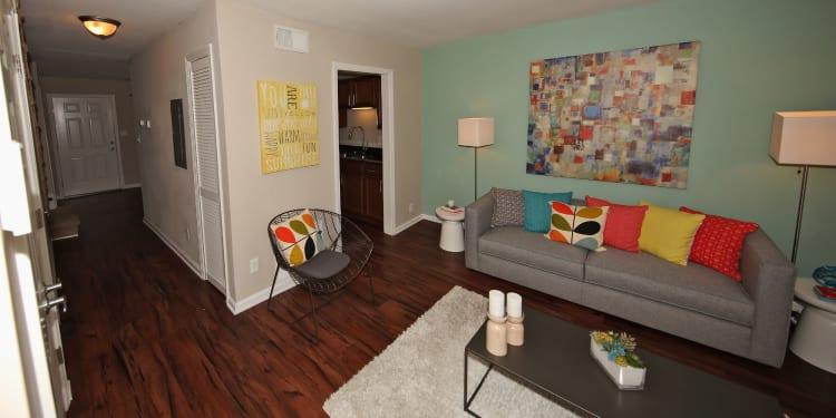 Spacious and modern living room at The Broadway at East Atlanta in Atlanta