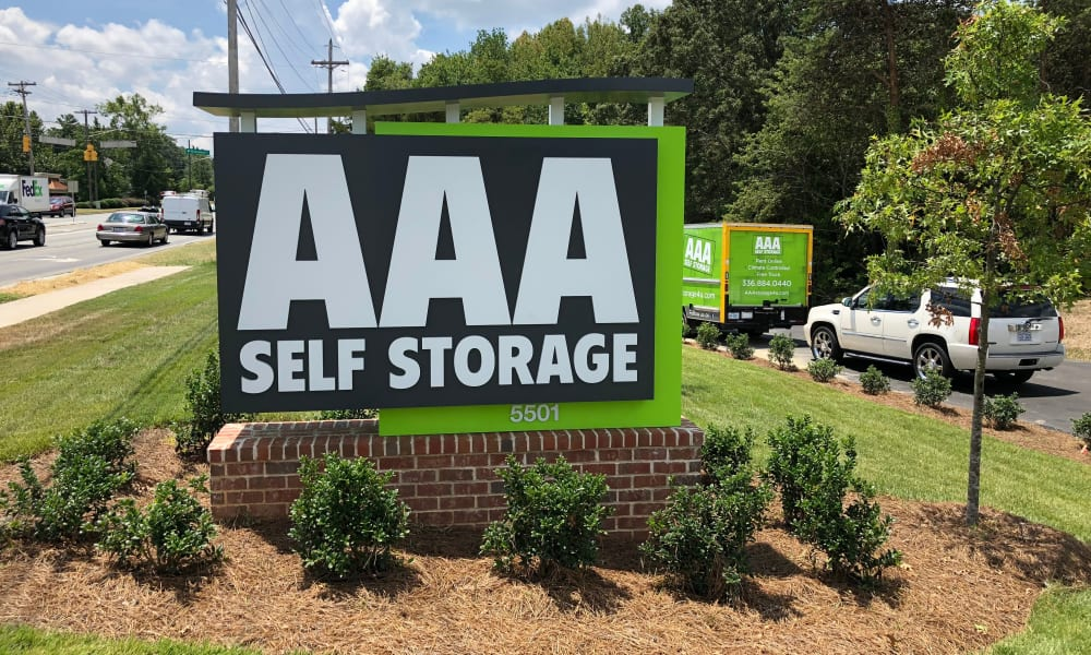 Signage at AAA Self Storage at Eastchester Dr in High Point, NC