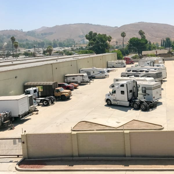 RV, boat, auto, and trailer parking at StorQuest Self Storage in Riverside, California
