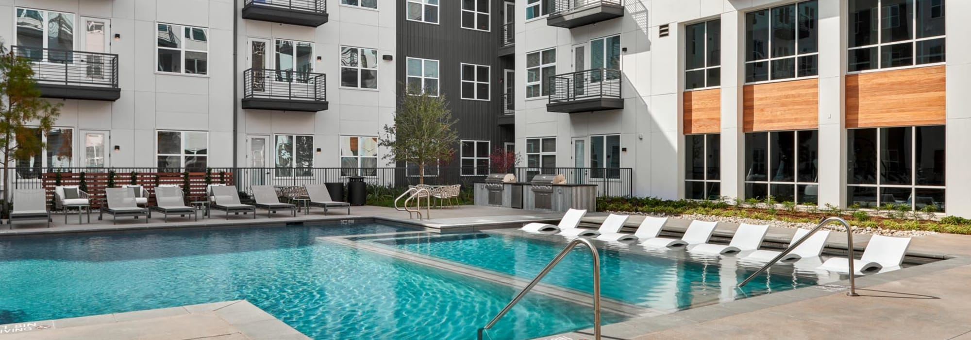 Pool area on a beautiful day at 4600 Ross in Dallas, Texas