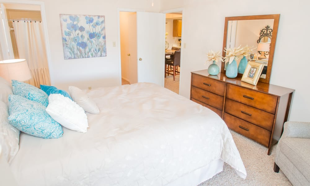 Bright bedroom at Barrington Apartments in Tulsa, Oklahoma