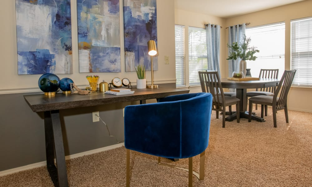 Office area and dining area in unit at Coffee Creek Apartments in Owasso, Oklahoma