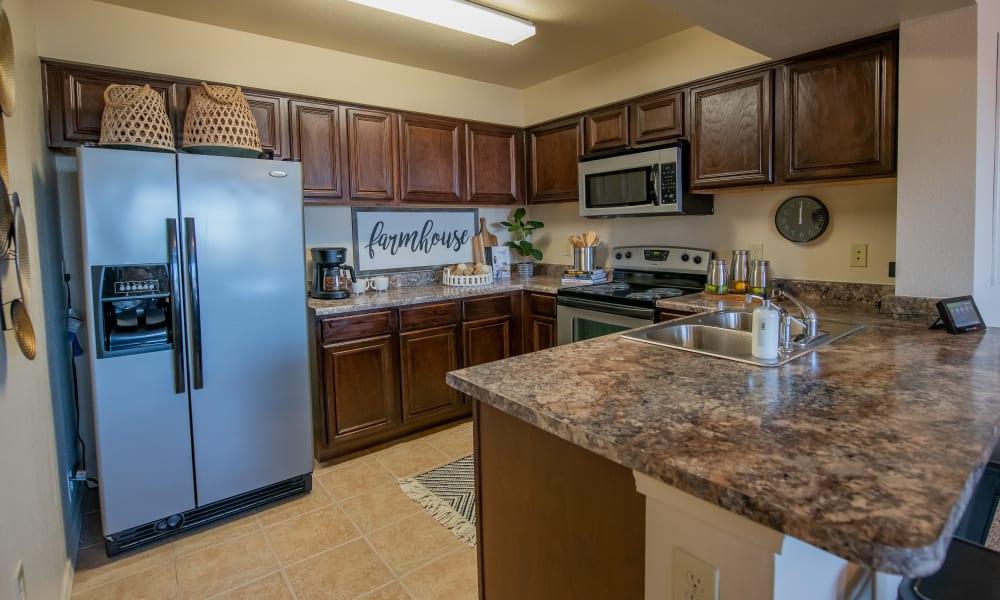 A large apartment kitchen at Tuscany Hills in Tulsa, Oklahoma