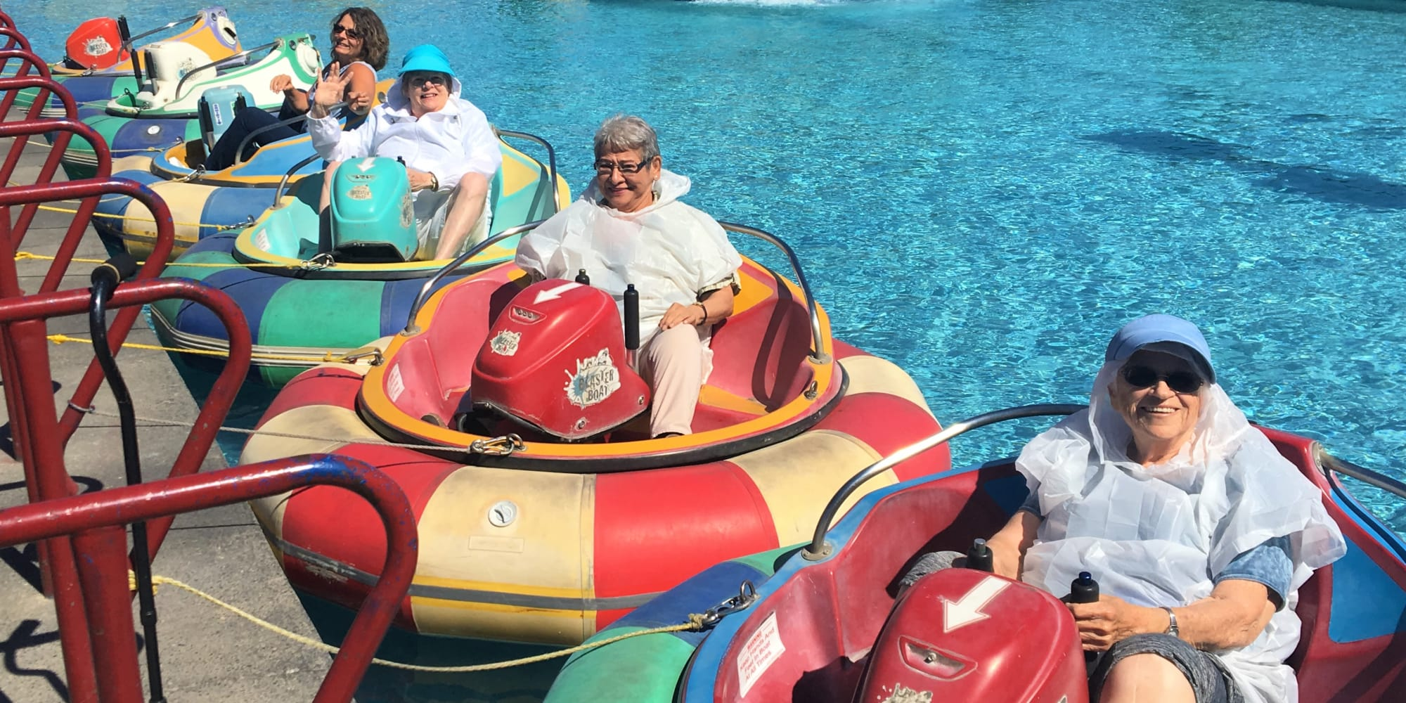 A group of residents from Linwood Estates Gracious Retirement Living in Lawrenceville, Georgia on a water ride