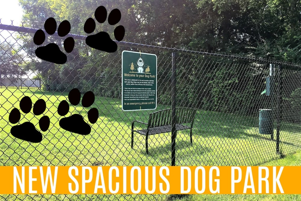 Spacious dog park at The Village at Crestview in Madison, Tennessee