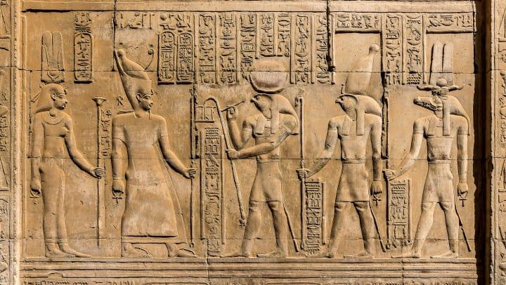 Relief sculptures of Egyptian hieroglyphs.