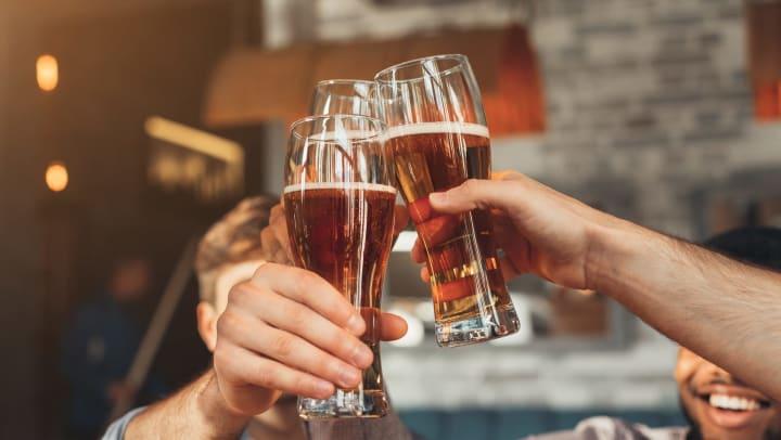 Cheers with friends near Vistara at SanTan Village in Gilbert, Arizona