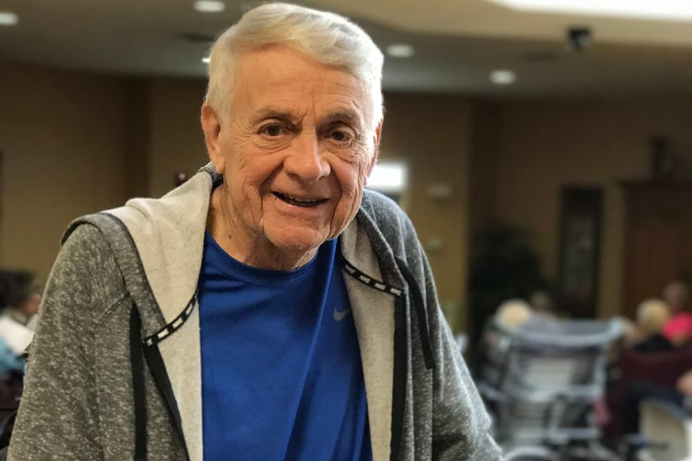 A happy resident at Aspen Place Health Campus in Greensburg, Indiana