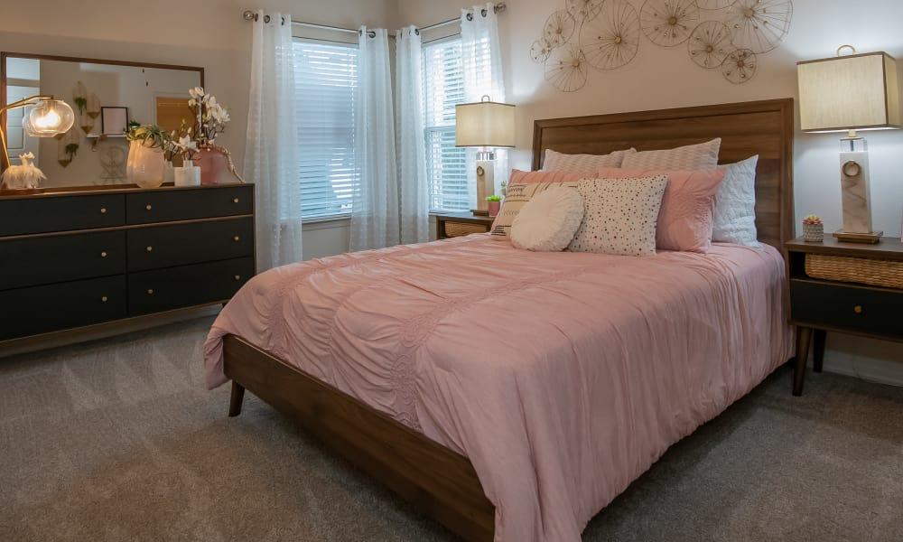 Bright bedroom at Stonehorse Crossing Apartments in Oklahoma City, Oklahoma