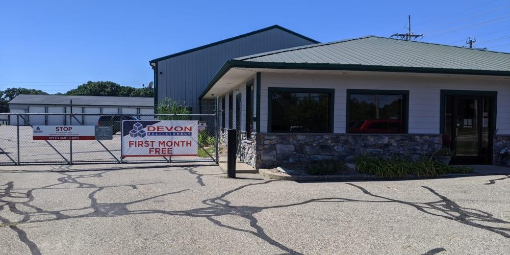Entrance to Devon Self Storage in Wyoming, Michigan