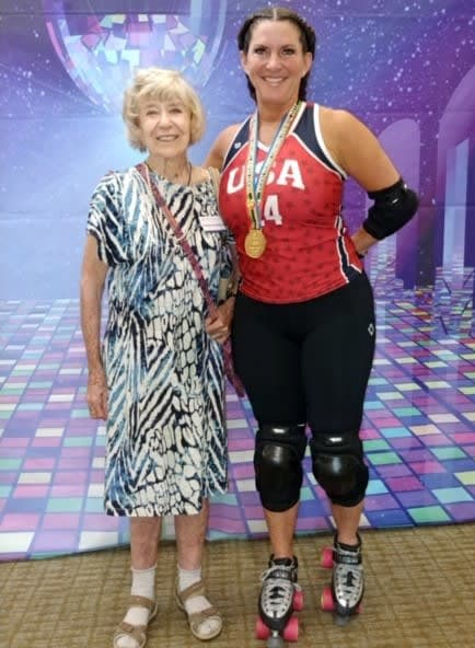 Resident with roller derby gold medalist, Misty Greer