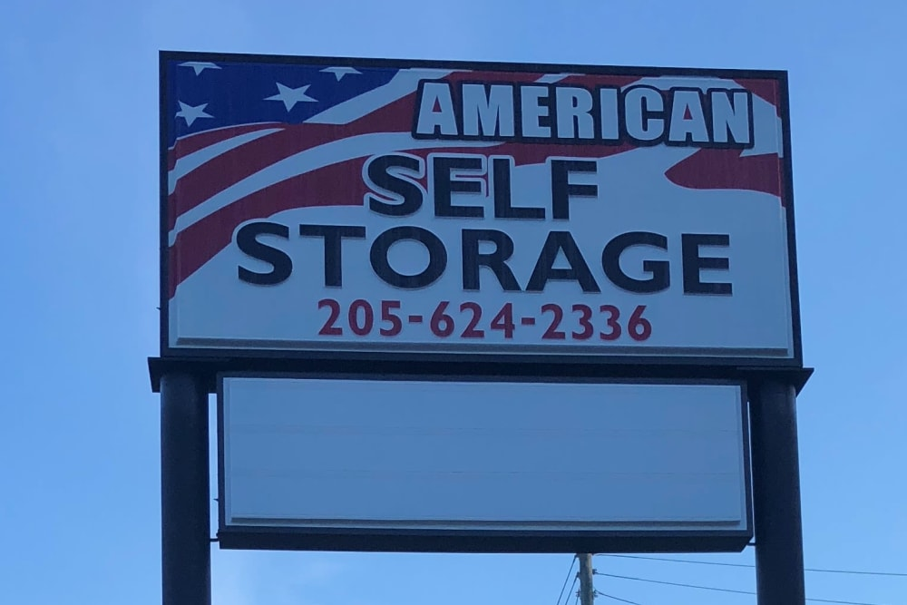 Sign at American Self Storage in Maylene, Alabama