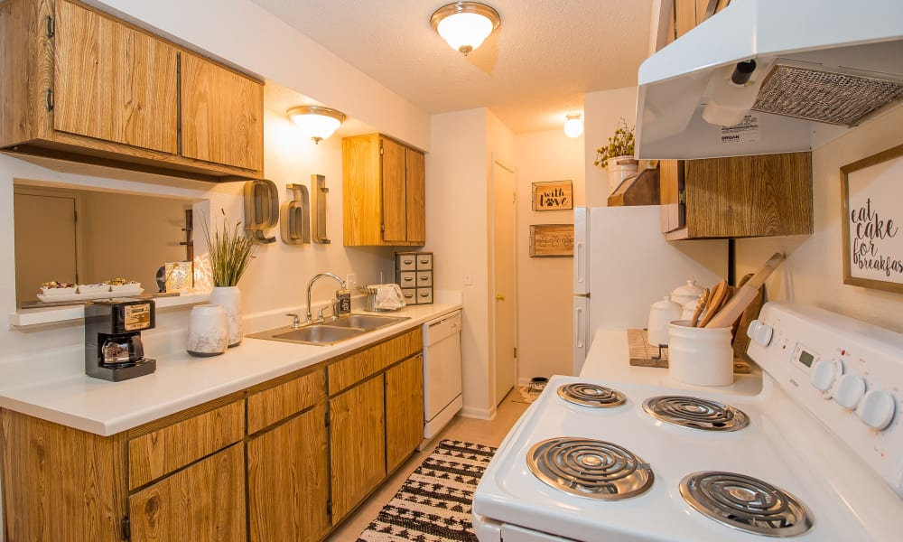 An apartment kitchen at Waters Edge in Oklahoma City, OK