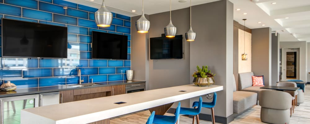 Roof-top bar with flat-screen TVs at Harlow in Washington, District of Columbia