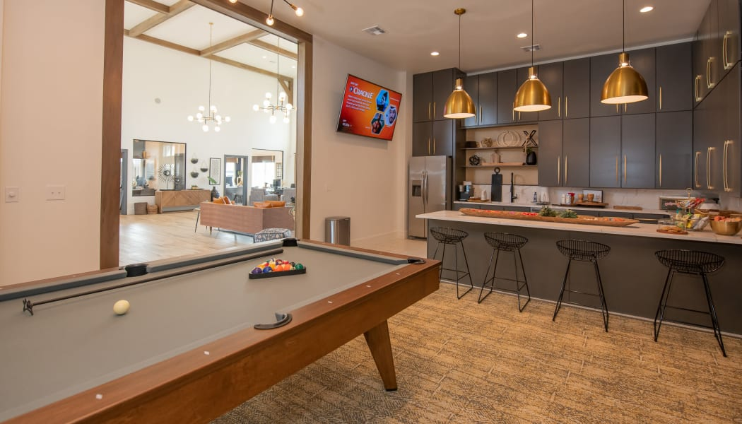 Billiards table in clubhouse at Artisan Crossing in Norman, Oklahoma