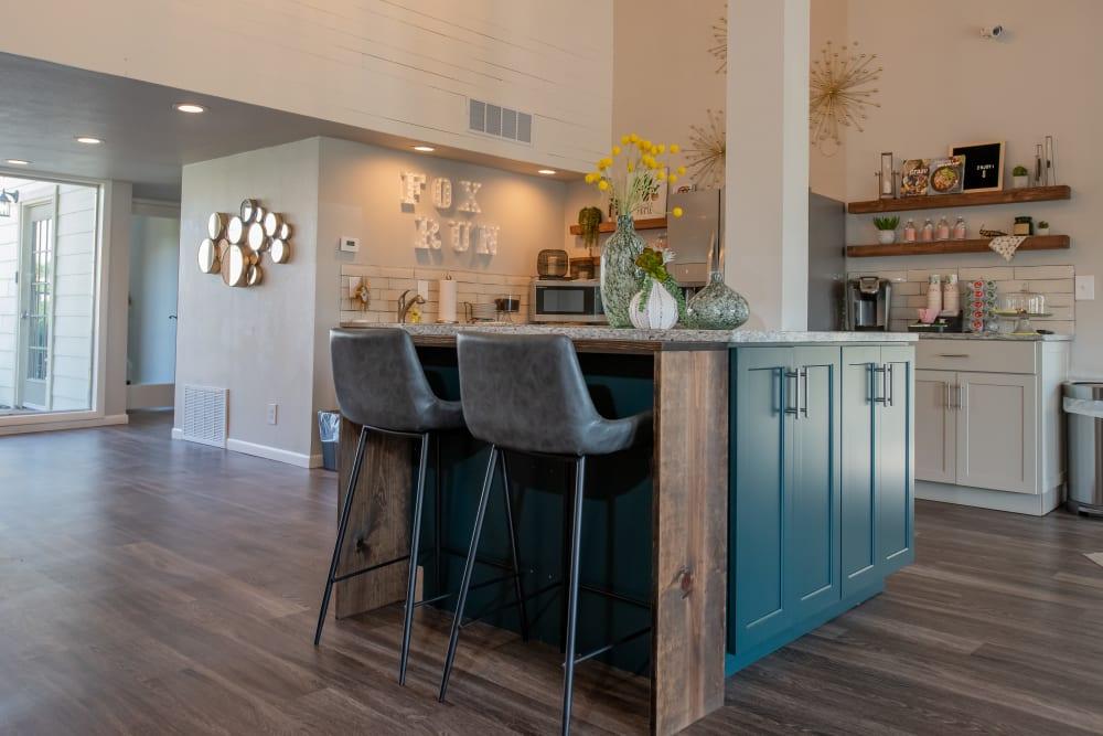 Kitchen area in clubhouse at Fox Run Apartments in Wichita, Kansas