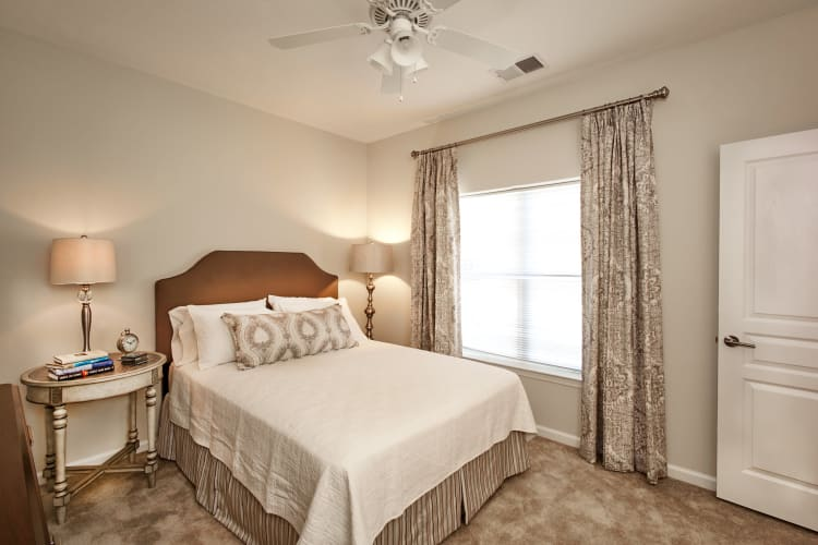 Large master bedroom in a model home at Meridian Obici in Suffolk, Virginia