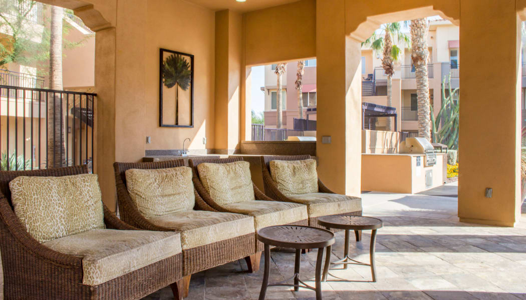 Beautiful shaded seating area at The Residences at Stadium in Surprise, AZ