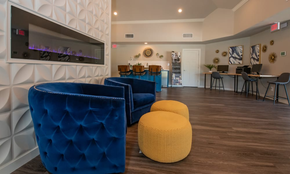 Modern clubhouse and resident business center at Eagle Point Apartments in Tulsa, Oklahoma