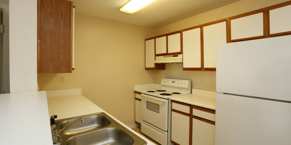 An apartment kitchen at Ashton Park Apartments in Gulfport, Mississippi