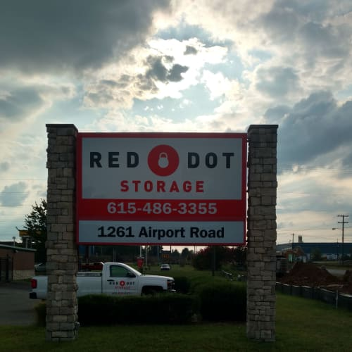 Sign at the street entrance of Red Dot Storage in Gallatin, Tennessee