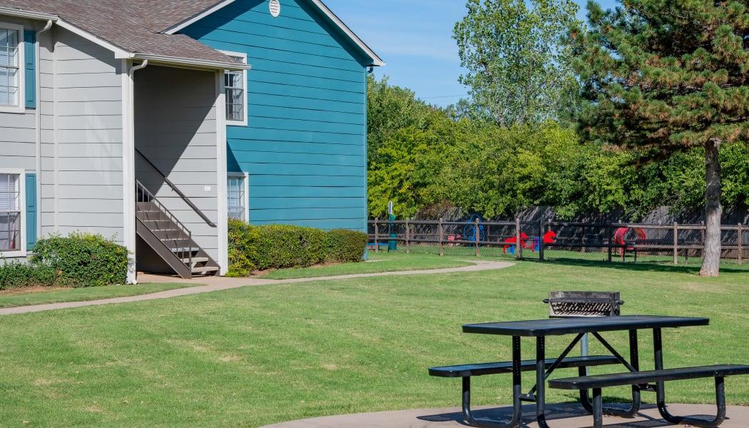 Courtyard and bark park at Tammaron Village Apartments in Oklahoma City, Oklahoma