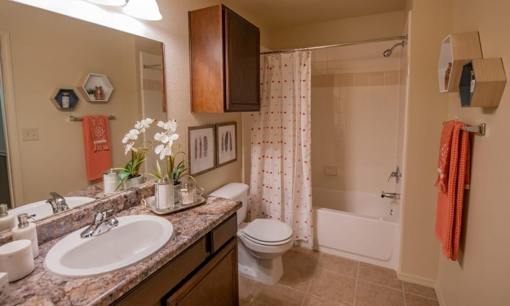 An apartment bathroom at Tuscany Hills in Tulsa, Oklahoma