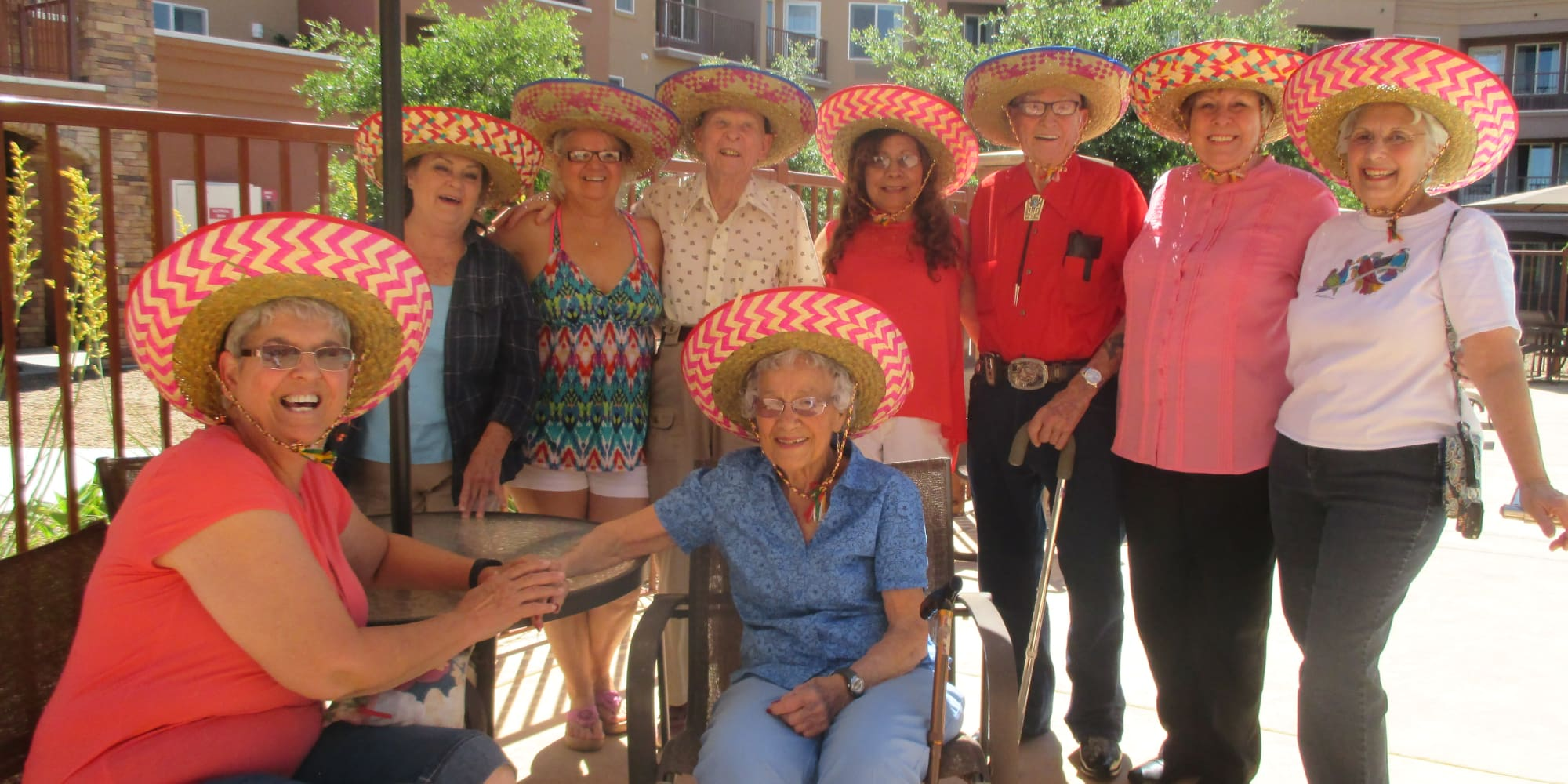 Residents wearing sombreros at Mountain View Gardens in Sierra Vista, Arizona