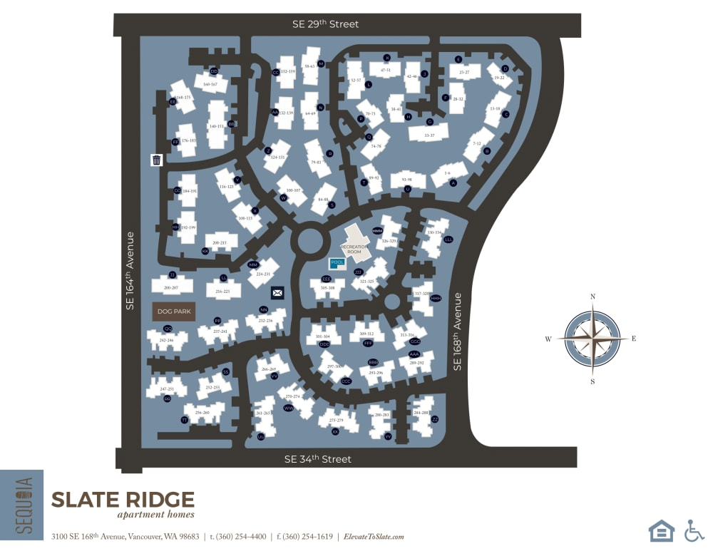 Community site map for Slate Ridge at Fisher's Landing Apartment Homes in Vancouver, Washington