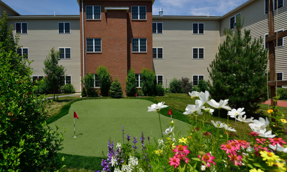 The community putting green at Keystone Commons in Ludlow, Massachusetts