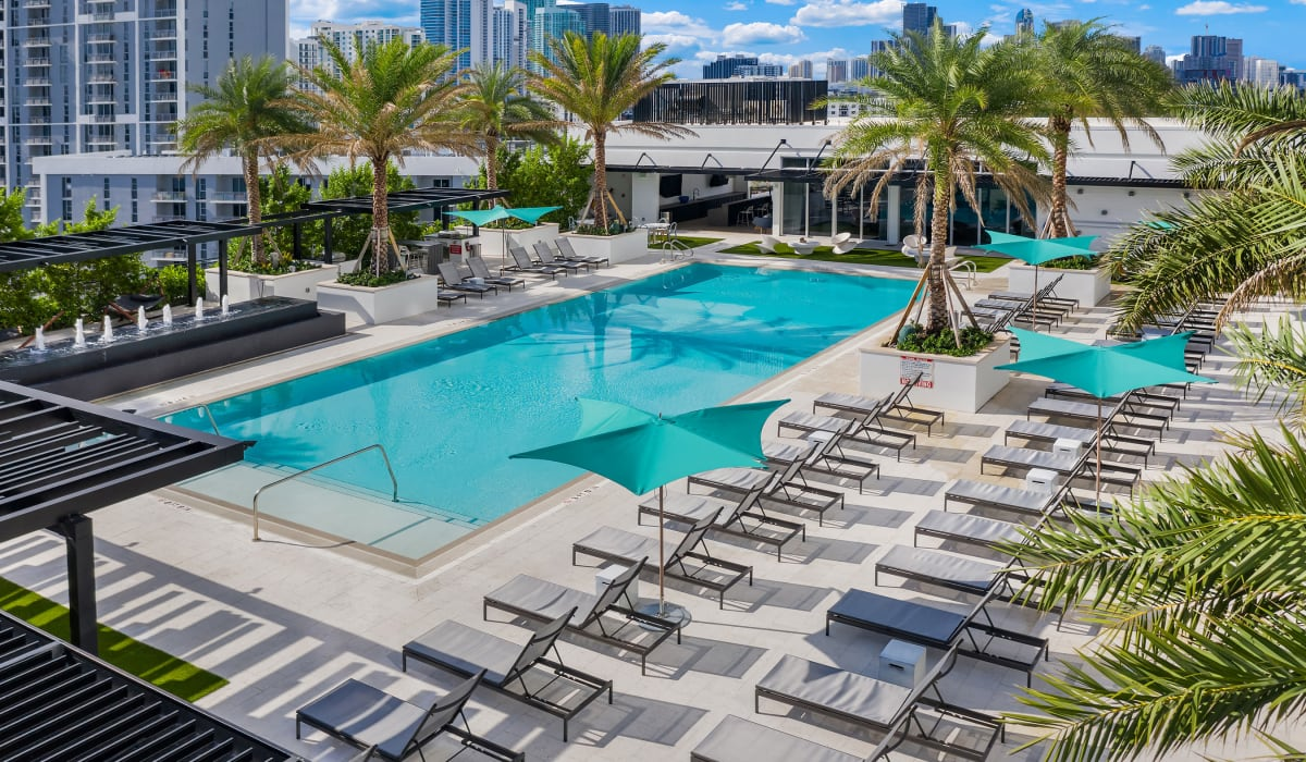 Outdoor pool at Yard 8 Midtown in Midtown Miami, Florida