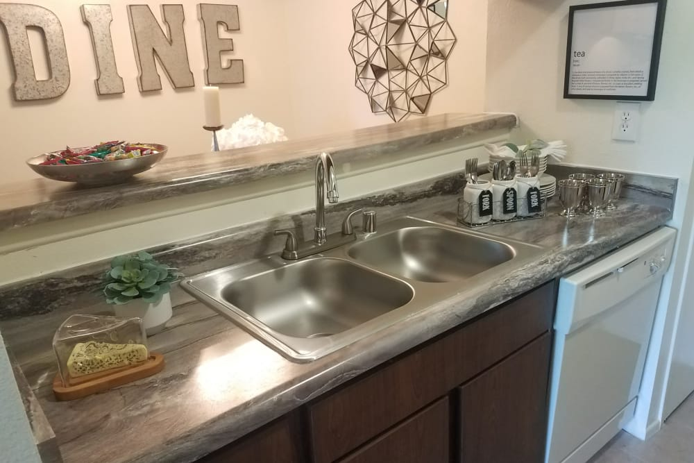 Shiny kitchen at The Chimneys Apartments in El Paso, Texas