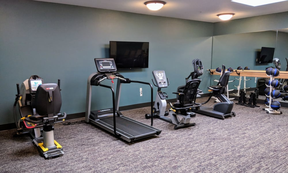 Gym equipment for residents at Timber Pointe Senior Living in Springfield, Oregon
