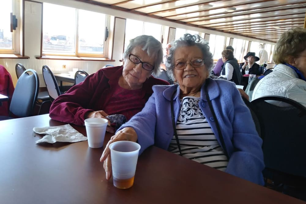 Two residents in the dining room at Thornton Terrace Health Campus in Hanover, Indiana