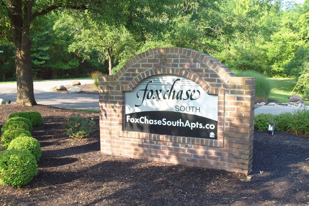 Entrance sign at Fox Chase South in Southgate, Kentucky