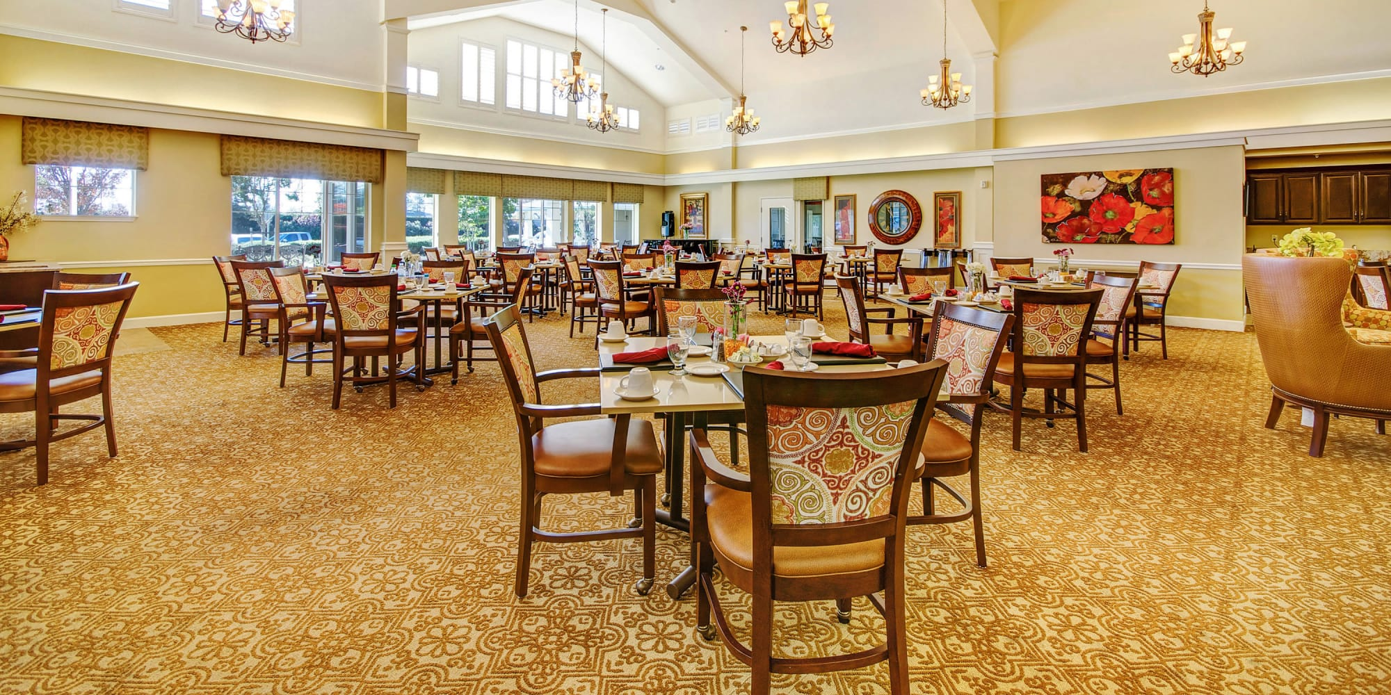 Dining aera at The Commons at Union Ranch in Manteca, California
