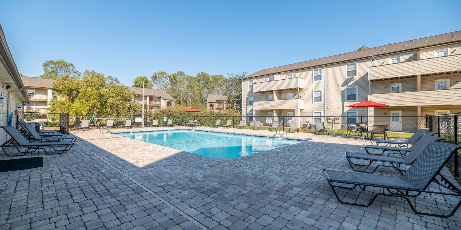 Pool at Parkway Station Apartment Homes in Concord, North Carolina
