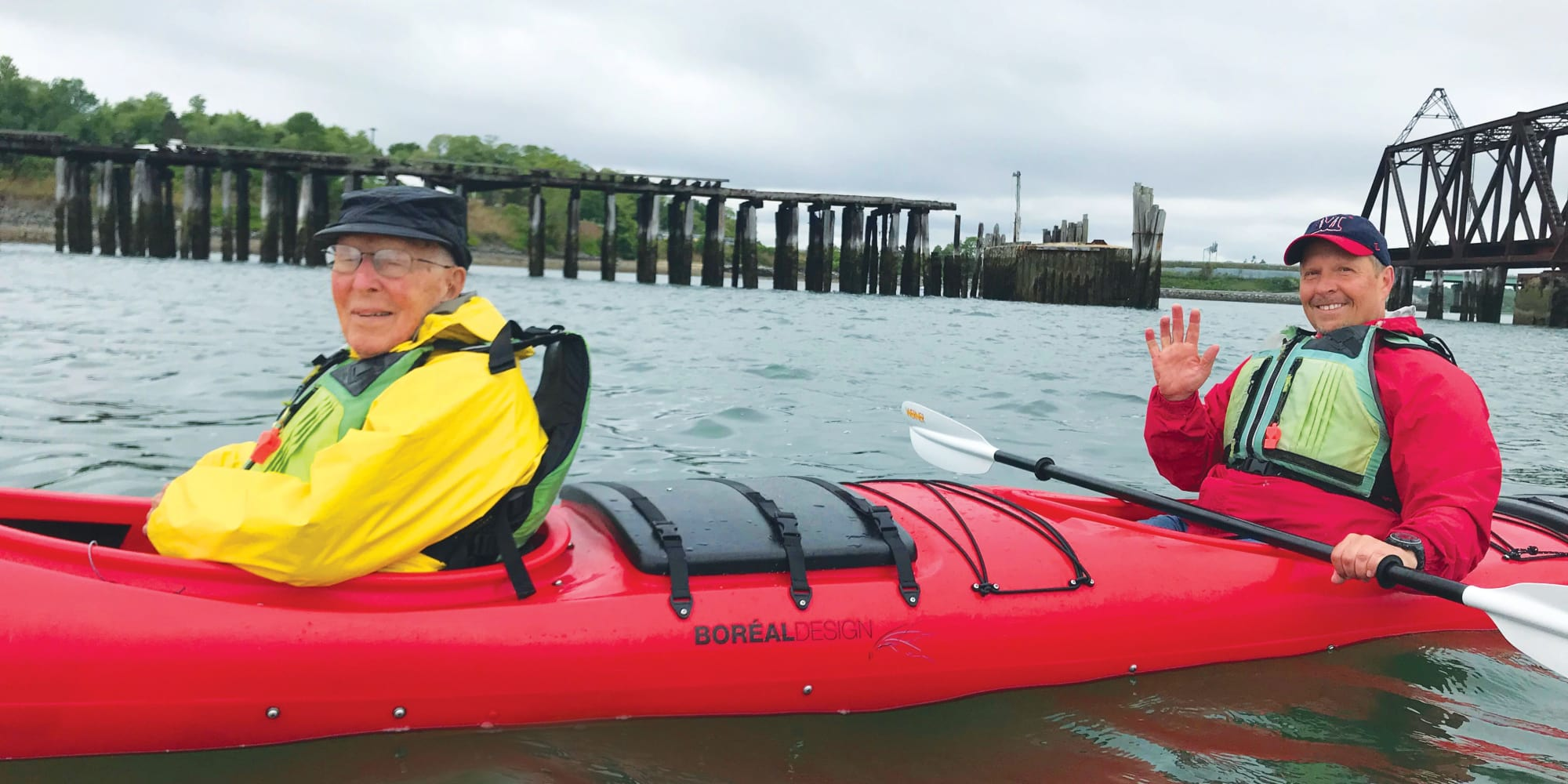 Two residents from Julian Estates Gracious Retirement Living in Puyallup, Washington in a kayak