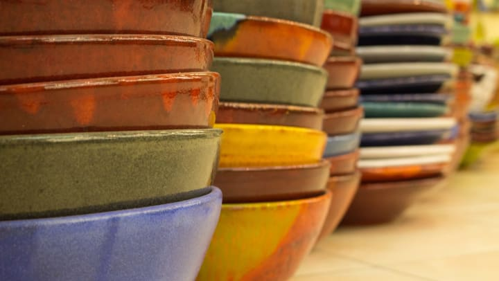 Stacks of empty bowls