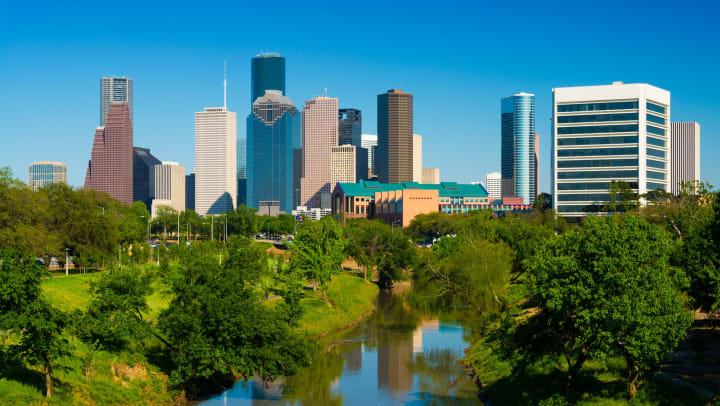 Houston's skyline with parkland in the foreground