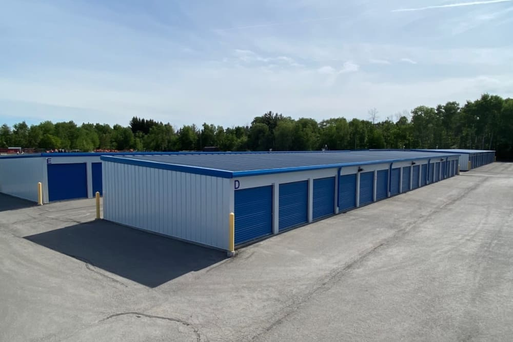 Aerial view of storage units at Vault Self Storage in Holland Landing, Ontario