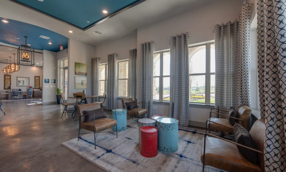 Industrial style office area in clubhouse at Bellrock Upper North in Haltom City, Texas