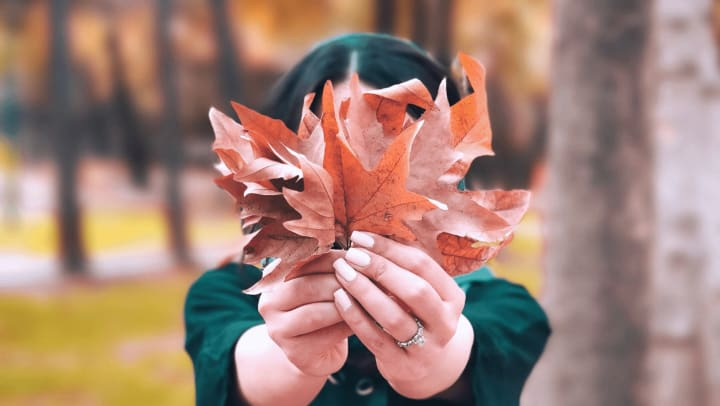 Girl holding some fallen leaves in the Fall