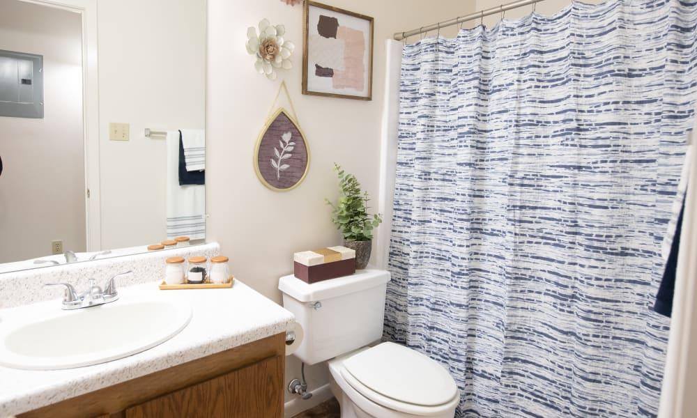 An apartment bathroom at The Mark Apartments in Ridgeland, MS
