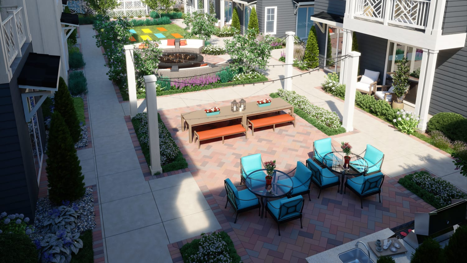 Rendering of courtyard at Avenida Cool Springs senior living apartments in Franklin, Tennessee