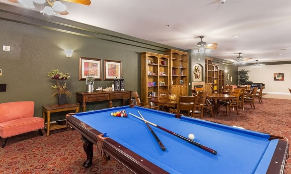 pool table and seating area